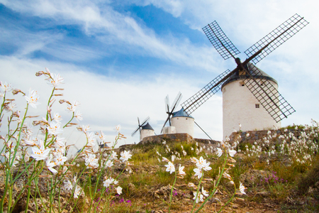 the mainland: Vintage widnmills in the mainland of La Mancha, Consuegra, Spain. Stock Photo