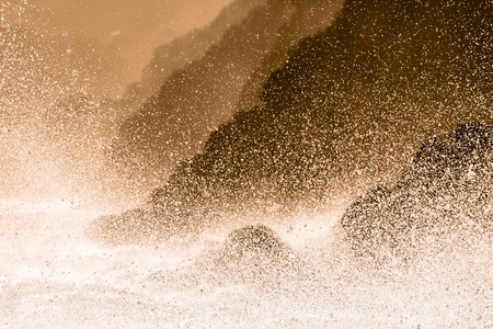 breaking wave: Dramatic seascape in Mediterranean sea in Chinque Terre national park in Italy.