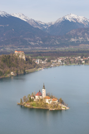 bled: Bled with lake, island, castle and mountains in background, Slovenia, Europe