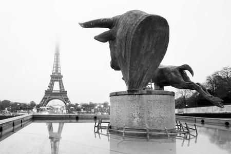 statuary garden: Sculptures and fountains on Trocadero and Eiffel Tower in Paris, France. Black and white vintage image. Stock Photo