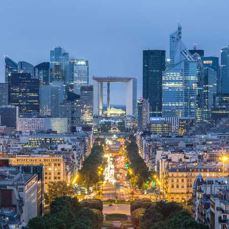 charles de gaulle: View of La Defence Paris business district from Place Charles De Gaulle at dusk. Stock Photo