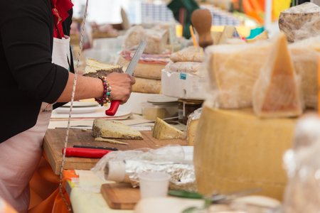 Sunday cheese market. Large selection of cheeses.