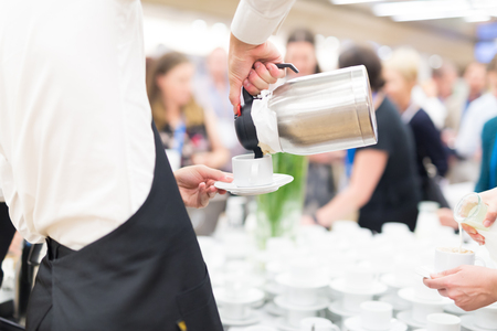 business conference: Coffee break at conference meeting. Business and entrepreneurship. Stock Photo