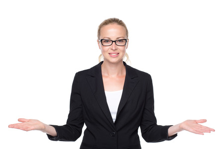business products: Beautiful young businesswoman smiling, holding open palms with empty copy space. Business woman showing hands sign to sides, concept of advertisement or comparing products. White background.