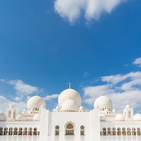 View of Sheikh Zayed Grand Mosque in Abu Dhabi, United Arab Emirates. Stock Photo