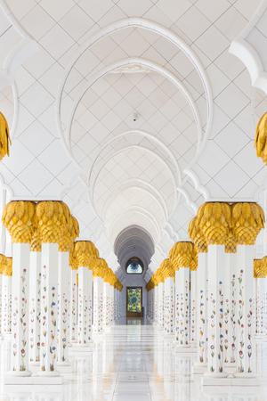 Artistic hallway of Sheikh Zayed Grand Mosque in Abu Dhabi, United Arab Emirates.