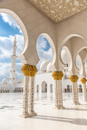 View of Sheikh Zayed Grand Mosque in Abu Dhabi, United Arab Emirates. Editorial
