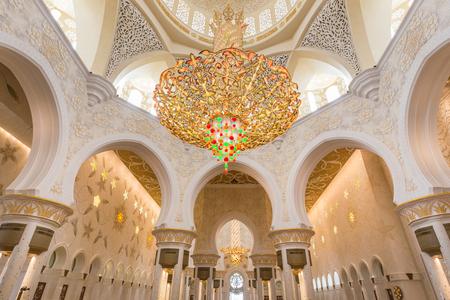 Rich artistic islamic interior of Sheikh Zayed Grand Mosque in Abu Dhabi, United Arab Emirates. Editorial