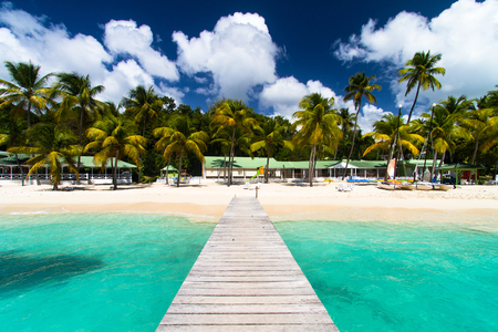 Beautiful paradise beach in tropical island of Guadeloupe