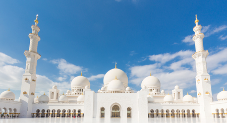 sacral: View of Sheikh Zayed Grand Mosque in Abu Dhabi, United Arab Emirates. Stock Photo