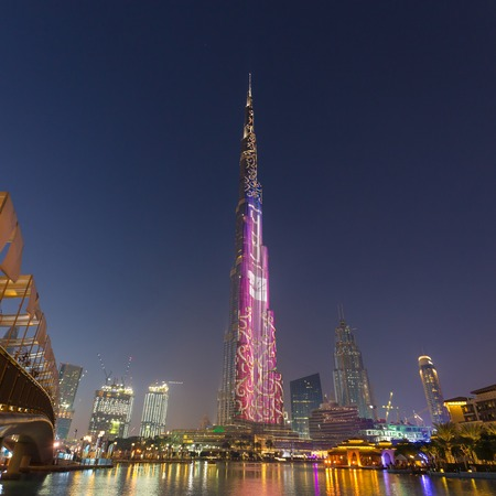 Dubai, UAE - Feb 2: Burj Khalifa, worlds tallest skyscraper, Downtown Burj Dubai on 2nd of February, 2016 in Dubai, United Arab Emirates. Editorial