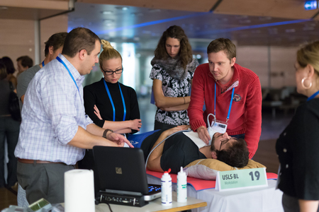 approaches: Ljubljana, Slovenia - Sept 7: Participants learning new techniques, approaches and use of ultrasound in medicine on 12th Winfocus world congress on 7th of September, 2016 in Ljubljana, Slovenia. Editorial