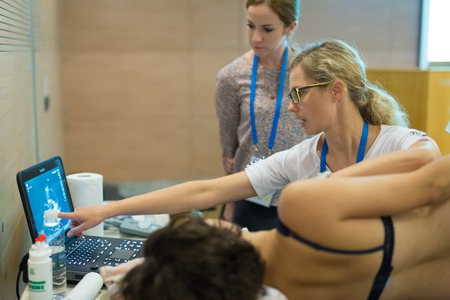 approaches: Ljubljana, Slovenia - Sept 9: Participants learning new techniques, approaches and use of ultrasound in medicine on 12th Winfocus world congress on 9th of September, 2016 in Ljubljana, Slovenia.