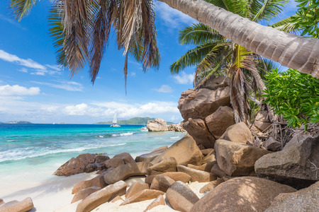 Pictur perfect tropical Anse Patates beach on La Digue Island, Seychelles. Summer vacations on picture perfect tropical beach concept. Stock Photo