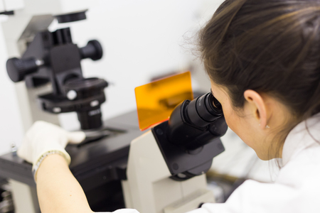 science scientific: Life science female researcher microscoping in scientific genetic laboratory. Healthcare and biotechnology. Stock Photo