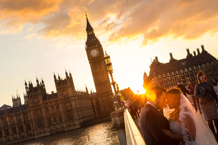 pedestrian bridge: London, UK - April 2, 2015: Random people on Westminster Bridge in sunset on 2th of April, 2017 in London. Big ben and Palace of Westminster aka Houses of Parliament in background.
