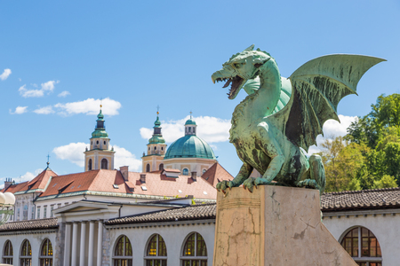 Famous Dragon bridge or Zmajski most, symbol of Ljubljana, capital of Slovenia, Europe. 免版税图像