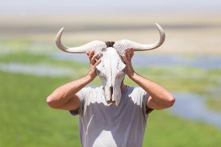 Man holding a white wildebeest skull wearing it like a mask in nature on african wildlife safari, Amboseli national park, Kenya.