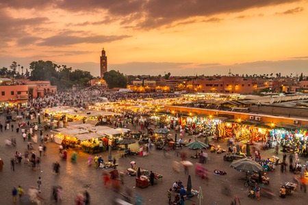 Jamaa el Fna market square, Marrakesh, Morocco, north Africa. Jemaa el-Fnaa, Djema el-Fna or Djemaa el-Fnaa is a famous square and market place in Marrakeshs medina quarter. Zdjęcie Seryjne