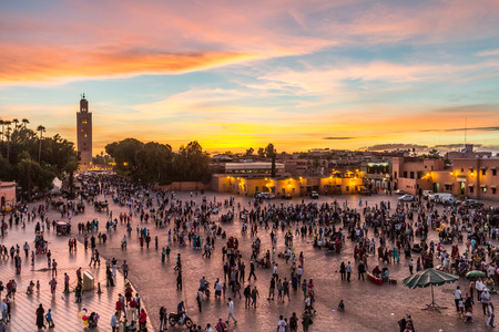 Jamaa el Fna market square, Marrakesh, Morocco, north Africa. Jemaa el-Fnaa, Djema el-Fna or Djemaa el-Fnaa is a famous square and market place in Marrakeshs medina quarter. 스톡 콘텐츠