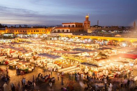 Jamaa el Fna market square, Marrakesh, Morocco, north Africa. Jemaa el-Fnaa, Djema el-Fna or Djemaa el-Fnaa is a famous square and market place in Marrakeshs medina quarter. Stock Photo
