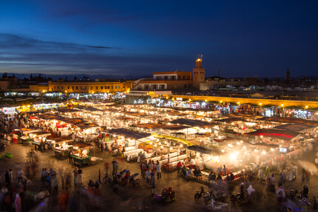 Jamaa el Fna market square at dusk, Marrakesh, Morocco, north Africa. Jemaa el-Fnaa, Djema el-Fna or Djemaa el-Fnaa is a famous square and market place in Marrakeshs medina quarter.