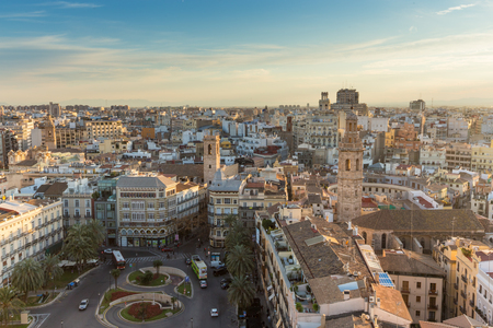 Panoramic View Over Historic Center of Valencia, Spain. Panoramic aerial view of cityscape.