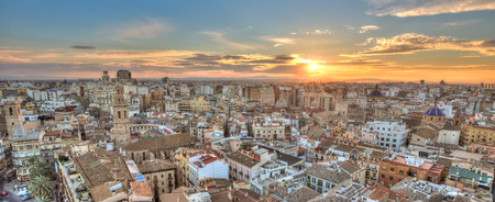 Sunset Over Historic Center of Valencia, Spain. Panoramic aerial view of cityscape.
