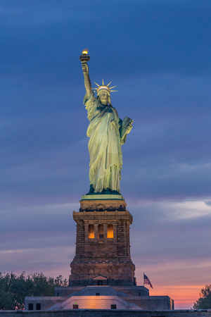 Statue of Liberty at dusk, New York City, USA.