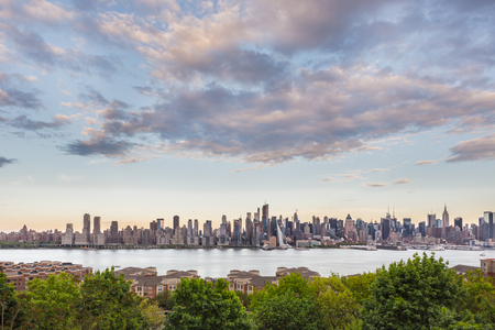 New York City midtown Manhattan skyline panorama view from Boulevard East Old Glory Park over Hudson River. 写真素材