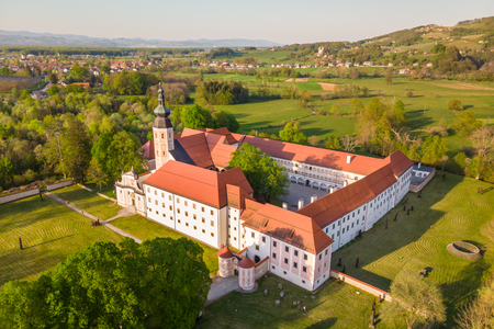 Aerial view of Cistercian monastery Kostanjevica na Krki, homely appointed as Castle Kostanjevica, Slovenia, Europe.