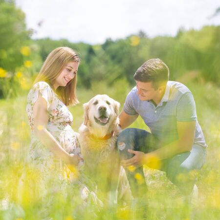 Young happy pregnant couple petting its Golden retriever dog outdoors in nature. Concept of love, relationship, care, devotion, marriage, family creation, pregnancy, parenting