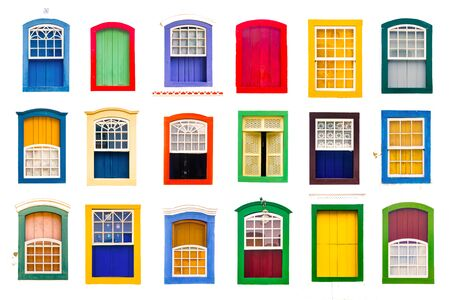 Collage of colorful rustic vintage wooden windows isolated on white background.