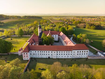 Aerial view of Cistercian monastery Kostanjevica na Krki, homely appointed as Castle Kostanjevica, Slovenia, Europe.