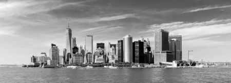 Panoramic view of Lower Manhattan, New York City, USA. Black and white image.