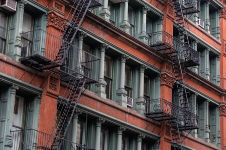 A fire escape of an apartment building in New York city. Stock Photo