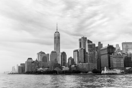 Panoramic view of Lower Manhattan, New York City, USA. Black and white.