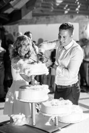 Happy bride and groom cut the wedding cake. Wedding celebration. Black and white image.