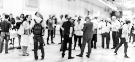 Blured image of businesspeople at coffee break at conference meeting. Business and entrepreneurship. Black and white image. 스톡 콘텐츠