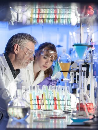 Scientists researching in scientific laboratory. Young female scientist and her senior male supervisor looking at the cell colony grown in the petri dish in the life science research laboratory. Zdjęcie Seryjne