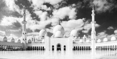 Sheikh Zayed Grand Mosque in Abu Dhabi, the capital city of United Arab Emirates. Artistic black and white photo.