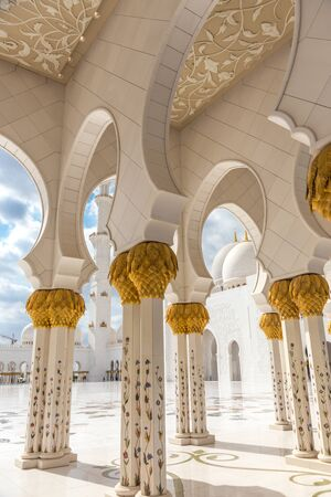 Architectural details from Sheikh Zayed Grand Mosque in Abu Dhabi, United Arab Emirates.