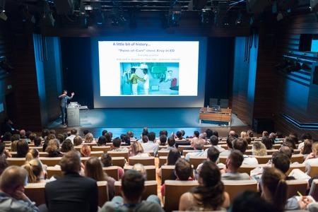 Ljubljana, Slovenia - Sept 8: Medical expert giving a talk on diagnostics in medicine on 12th Winfocus world congress on 8th of September, 2016 in Ljubljana, Slovenia. Sajtókép