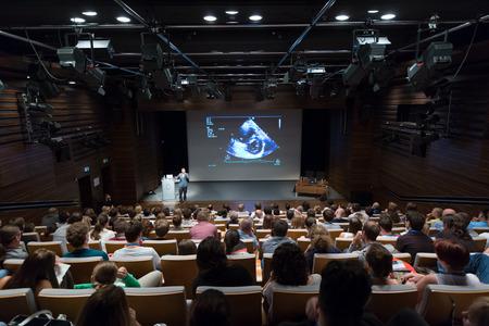 Ljubljana, Slovenia - Sept 8: Medical expert giving a talk on diagnostics in medicine on 12th Winfocus world congress on 8th of September, 2016 in Ljubljana, Slovenia. Éditoriale