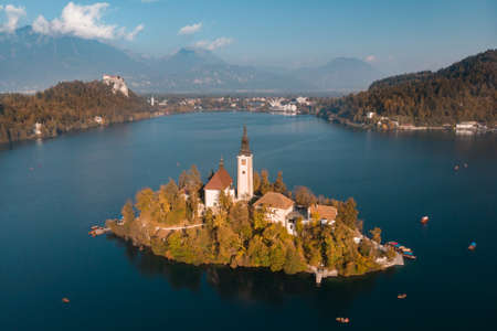 Island on Lake Bled in Slovenia, with the Church of the Assumption.