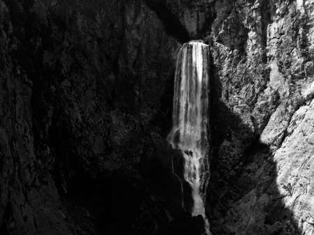 Waterfall Boka in Triglav National Park, Slovenia, Bovec, Europe in black and white.