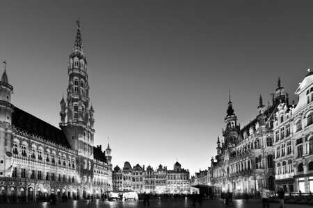 Grote Markt - The main square and Town hall of Brussels, Belgium, Europe in black and white.