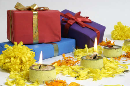 Diwali lamps and Gifts, Indian Traditional Festival Stock Photo