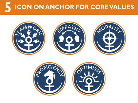 アンカーテーマで視覚的に自分の値を表示するために、会社や組織のための5コア値色のアイコン。