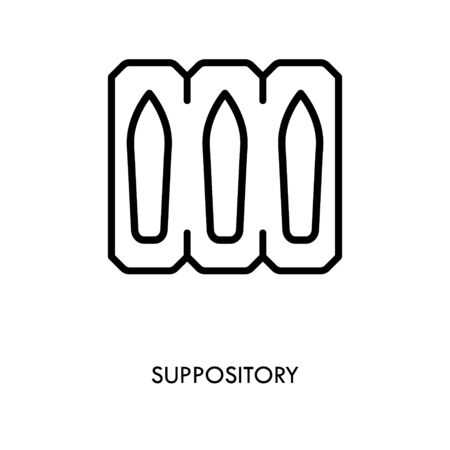 Suppository package line icon. linear style sign for mobile concept and web design. Medical Suppository blister outline vector icon. Symbol, logo illustration. Editable stroke Çizim